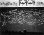 Section of the autograph wall at Turnabout Theatre, containing the signatures of many celebrities.