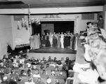 Closing night at Turnabout Theatre March 31, 1956, with a view of the cast on stage, from the...