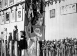 Interior view of the Yale Puppeteers' theater on 46th Street, New York, with puppets lining the...