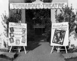 Two billboards at the entrance to Turnabout Theatre, announcing the revues playing there.  One...