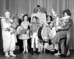 The cast of Tommy Turnabout's Circus in costumeon stage at Turnabout Theatre.