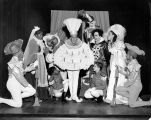 The cast of Tommy Turnabout's Circus onstage at Turnabout Theatre.  An actor dressed as The...