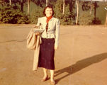 Lotte Goslar outside Tommy Turnabout's Circus at Farmers Market.  She served as director of the...