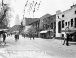 View of Olvera Street around 1930, on which have been marked the locations of the entrance to...