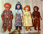 "Harry Burnett's puppets:  Clown, Swiss Miss from ""Gullible's Travels,"" Eva and Simon..."