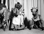 """The Brash Monkey"" puppets onstage, with puppeteer Harry Burnett looking in."