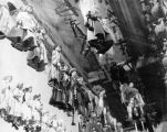 Numerous puppets hanging from the ceiling at Turnabout Theatre workshop.