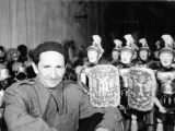 Harry Burnett and a number of his Roman gladiator puppets at Turnabout Theatre in 1947.