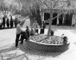 The Turnabouters gather at Elsa Lanchester's house in Palos Verdes to launch a picnic.