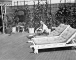 Harry Burnett on the deck of Turnabout Theatre in 1945.