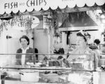 Two women at the fish and chips counter at Farmers Market in 1946.