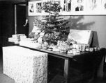 Christmas tree and gifts in the Green Room of Turnabout Theatre in 1946.