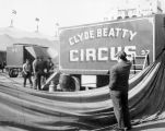 Richard Brandon observing the preparations for Clyde Beatty Circus performances in 1949.